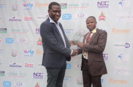 IT Personality of the Year 2016, Mr Akpodigha Filatei FNCS with NCS President, Prof. Adesola Aderounmu FNCS